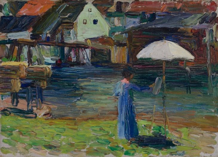 Кандински-1903-Габриела Мюнтер_рисувайки в Калмюнц